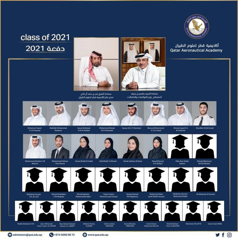 picture collage of all graduating students from the class of 2021 with director general and minister of transport and comunications